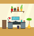 computer work place concept background flat style vector image vector image