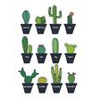 Cute cactus set vector image vector image