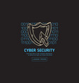 cyber security safety web design with a shield and vector image