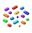 Different colorful lego bricks in isometric view vector image