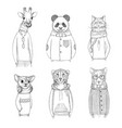 fashion animal characters hipster hand drawn vector image