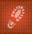 footprint boot sign whitish icon on brick vector image vector image