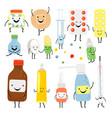 funny medicines cartoon characters vector image vector image