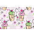 girl and boy ice cream character and cherry pink vector image