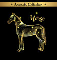 golden and royal hand drawn emblem of farm horse vector image