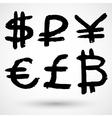 Grunge currencies symbols vector image vector image