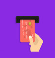 hand with credit card for payment business vector image