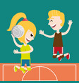 happy couple athlete playing volleyball vector image vector image