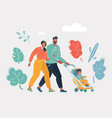 happy couple walking in park with pram vector image vector image