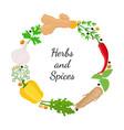 hebs spices - arugula garlic basil thyme dill vector image