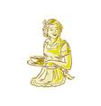 Homemaker Serving Bowl of Food Vintage Etching vector image vector image