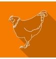 Icon Contour chicken Flat style long shadows vector image