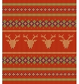 Knitted texture on red background with deers vector image