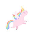 lovely unicorn flying with wings cute fantasy vector image