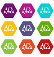 magnifying glass searching icon set color vector image vector image