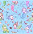 mermaid seamless pattern cute little mermaids vector image vector image