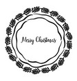 merry christmas greeting wreath vector image vector image
