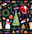 merry christmas seamless pattern winter holiday vector image vector image