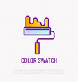 paint roller thin line icon vector image