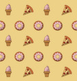 pizza and desserts background vector image
