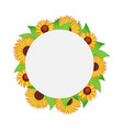 round autumn frame with leaves and sunflowers vector image vector image