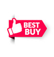 sale banner template best buy with thumbs up vector image