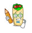 student burrito character cartoon style vector image vector image
