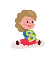 sweet little girl sitting on the floor playing vector image