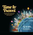 Trip to world Landmarks on the globe Journey vector image