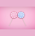 two lolipops candy on pastel pink background vector image