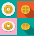 waffle with ice cream on plate in flat style vector image vector image