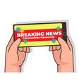 watching news using smart phone vector image vector image