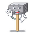 waving hammer cartoon for tenderizer the meat vector image vector image