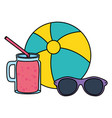 beach balloon with sunglasses and juice fruit vector image vector image