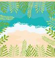 beach seascape with leafs frame summer scene vector image