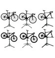 bicycles in repair stand vector image vector image