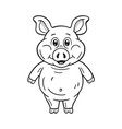 black and white a funny cartoon pig on white vector image vector image