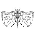 Black and white dragonfly with boho pattern and