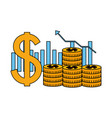 business dollar coins money chart bar vector image vector image