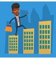 Businessman walking on the roofs of the buildings vector image vector image