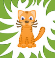Cartoon cat looks like tiger in frame of jungle vector image vector image