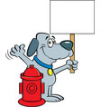cartoon dog holding a sign next to a fire hydrant vector image vector image