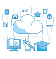 clouds with online education items vector image vector image