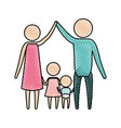 color crayon silhouette pictogram parents holding vector image vector image