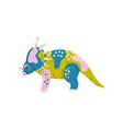 colorful styracosaurus dinosaur cute prehistoric vector image vector image