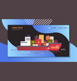 container cargo ship with gift present boxes vector image
