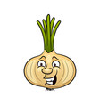 cute happy smiling bow onion vegetable vector image