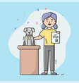 dog exhibition concept woman holds in hand vector image vector image