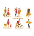 europeans at shopping vector image