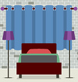 Flat Design Single Bed With Lamps vector image vector image